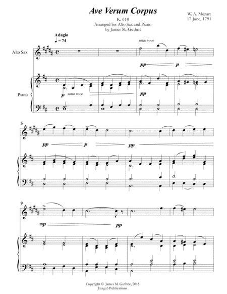 Mozart Ave Verum Corpus For Tenor Sax Piano  music sheet