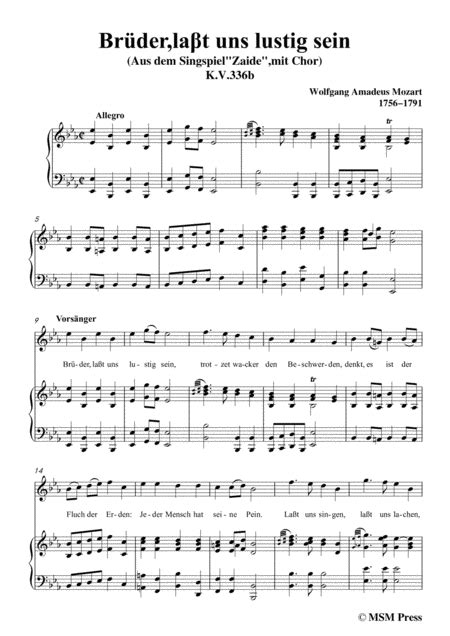 Mozart Brder Lat Uns Lustig Sein In B Major For Voice And Piano  music sheet