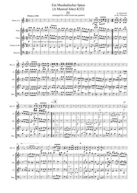 Mozart Ein Musikalischer Spass A Musical Joke K522 Mvt Iv Presto Wind Sextet Quintet  music sheet