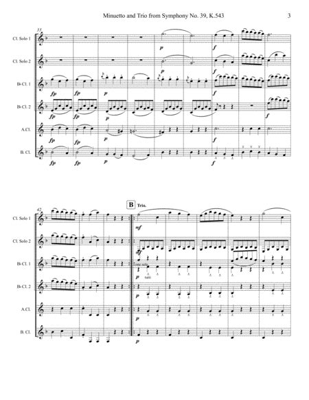 Mozart Minuetto From Symphony 39 Set For Clarinet Choir  music sheet