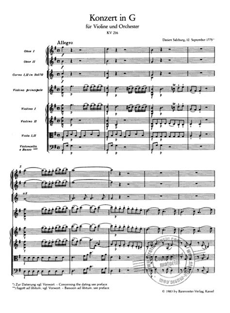 Mozart Violin Concerto No 3 In G Major K 216 For Violin And Orchestra Score And Parts  music sheet