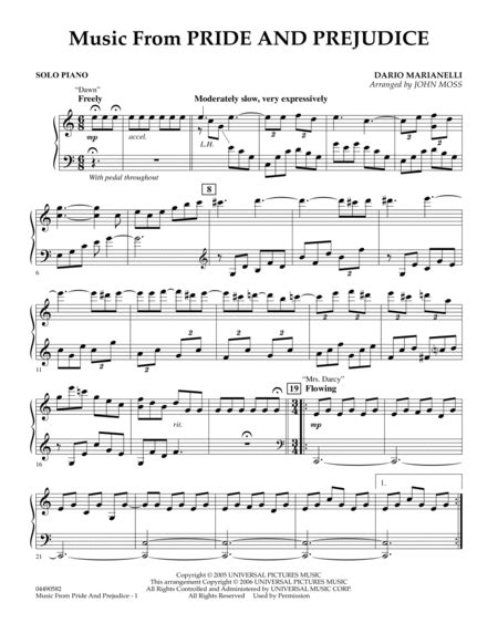 Mrs Darcy From The Motion Picture Pride And Prejudice For Piano  music sheet
