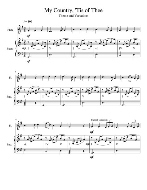 My Country Tis Of Thee Solo Piano  music sheet