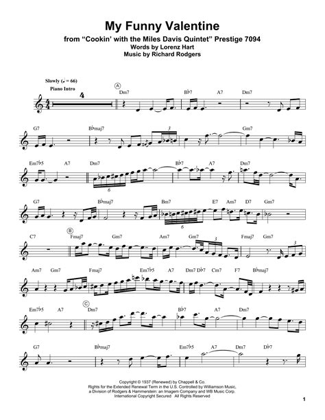 My Funny Valentine For Solo Jazz B Flat Clarinet  music sheet