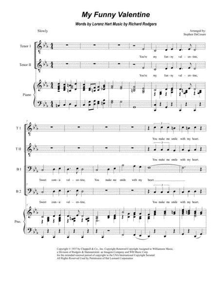 My Funny Valentine For Ttbb  music sheet