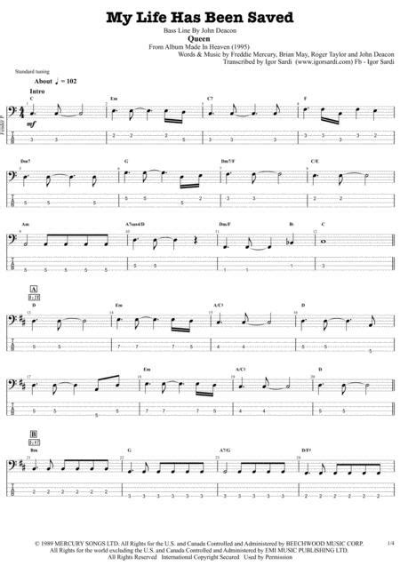 My Life Has Been Saved Queen John Deacon Complete And Accurate Bass Transcription Whit Tab  music sheet
