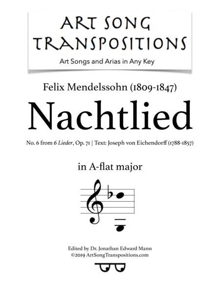 Nachtlied Op 71 No 6 A Flat Major  music sheet
