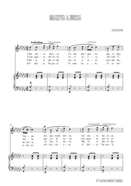 Nameless Santa Lucia In D Major For Voice And Piano  music sheet