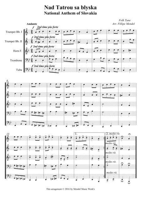 National Anthem Of Slovakia  music sheet