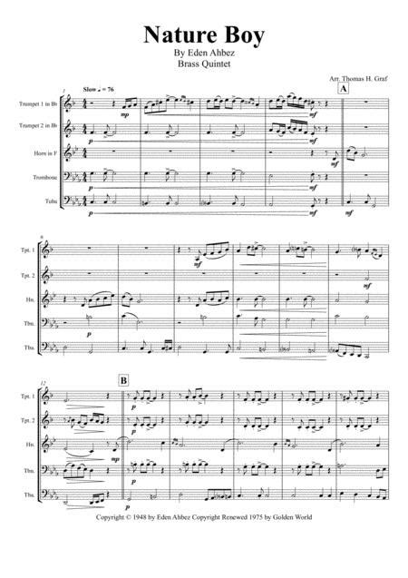 Nature Boy Nat King Cole Wind Quintet  music sheet