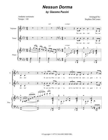 Nessun Dorma For 2 Part Choir Soprano Tenor  music sheet