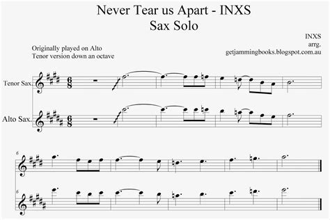 Never Tear Us Apart Tenor Sax  music sheet