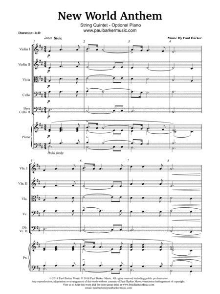 New World Anthem String Orchestra Score Parts  music sheet