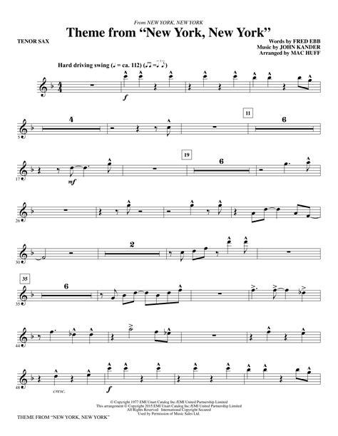 New York New York Theme Arranged For Tenor Saxophone And Piano  music sheet