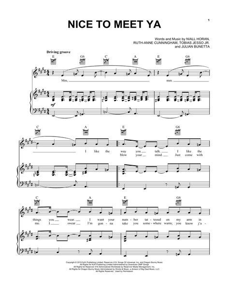 Nice To Meet Ya Niall Horan Easy Piano  music sheet