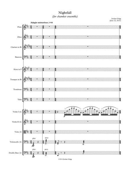 Nightfall For Chamber Ensemble 1  music sheet