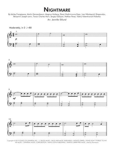 Nightmare Late Beginner Piano  music sheet