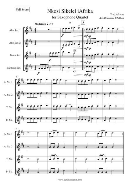 Nkosi Sikelel Iafrika For Saxophone Quartet Score Parts  music sheet
