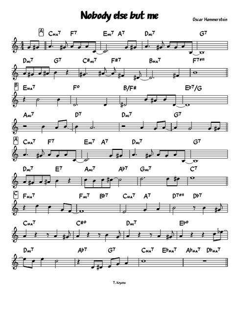 Nobody Else But Me Kenny Dorham Transcription Bb  music sheet
