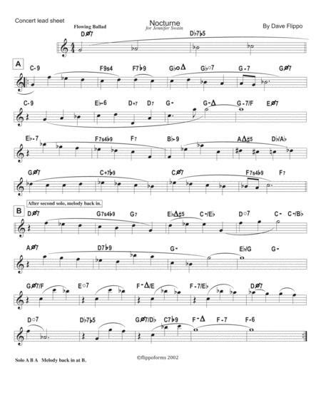Nocturne Lead Sheets In C Bb And Eb  music sheet