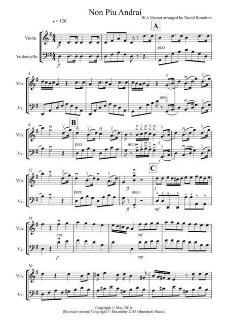 Non Pi Andrai For Violin And Cello Duet  music sheet