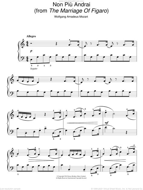 Non Piu Andrai From The Marriage Of Figaro Arranged For String Quartet  music sheet
