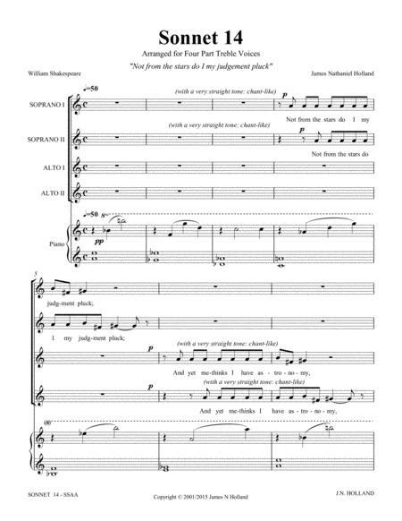 Not From The Stars Do I My Judgment Pluck Sonnet 14 Shakespeare For Ssaa Choir  music sheet