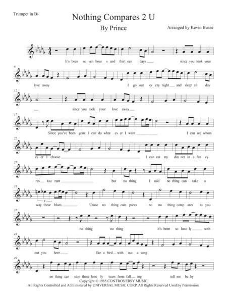 Nothing Compares 2 U Original Key Trumpet  music sheet