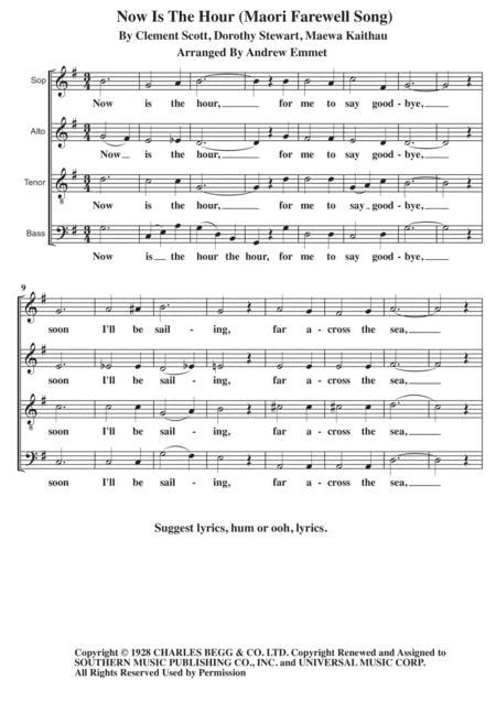 Now Is The Hour Maori Farewell Song A Cappella  music sheet
