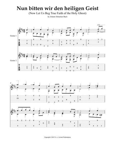 Nun Bitten Wir Den Heiligen Geist Now Let Us Beg True Faith Of The Holy Ghost  music sheet