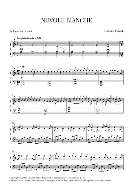 Nuvole Bianche Very Easy Beginner Piano  music sheet