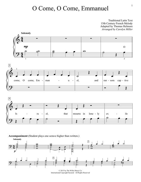 O Come Emmanuel For Beginning Piano To Sing And Play  music sheet
