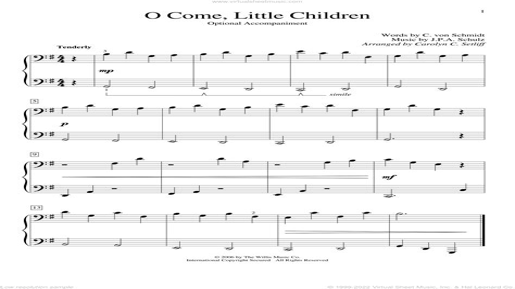 O Come Little Children Flute Or Violin Solo And Piano  music sheet