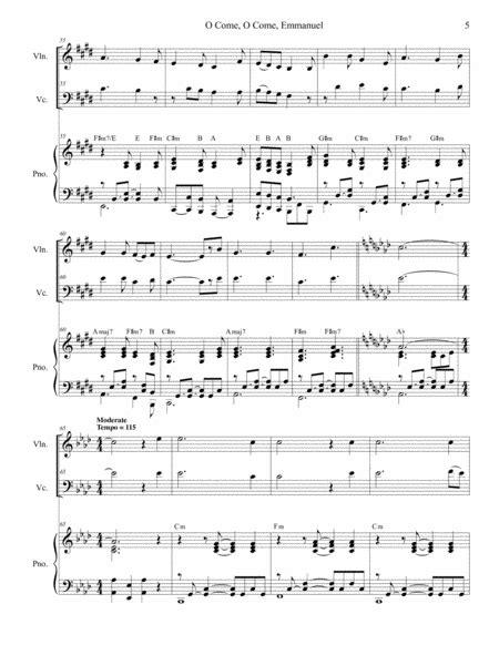O Come O Come Emmanuel With O Come Divine Messiah Duet For Violin And Cello  music sheet