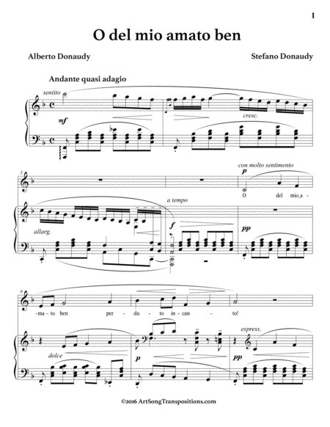 O Del Mio Amato Ben  music sheet