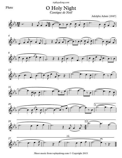 o holy night adolphe charles adam for flute piano music sheet
