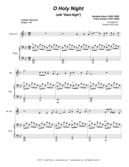 O Holy Night With Silent Night Duet For Bb Trumpet French Horn  music sheet