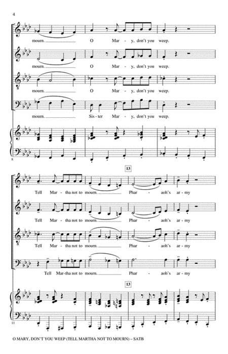 O Mary Dont You Weep A Cappella  music sheet