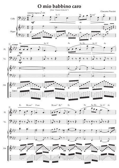 O Mio Babbino Caro Arranged For Flute Cello Keyboard And Guitar  music sheet