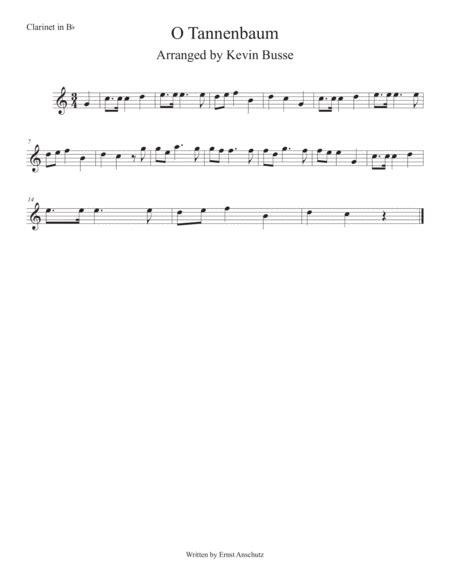 O Tannenbaum Easy Key Of C Clarinet  music sheet