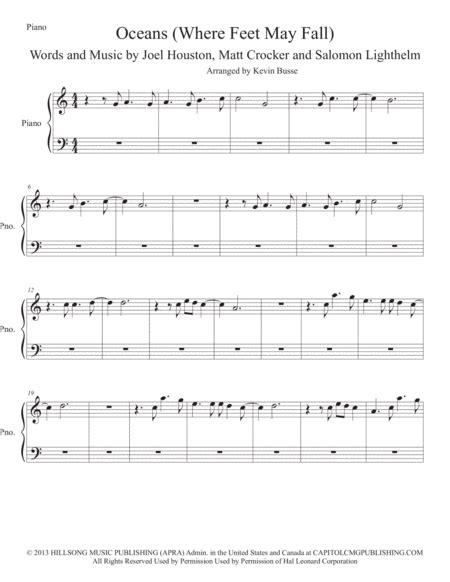 Oceans Easy Key Of C Piano  music sheet