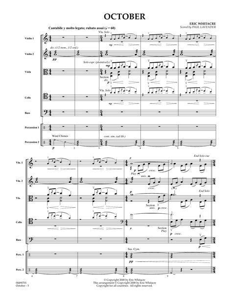 October Full Score Arr Paul Lavender  music sheet