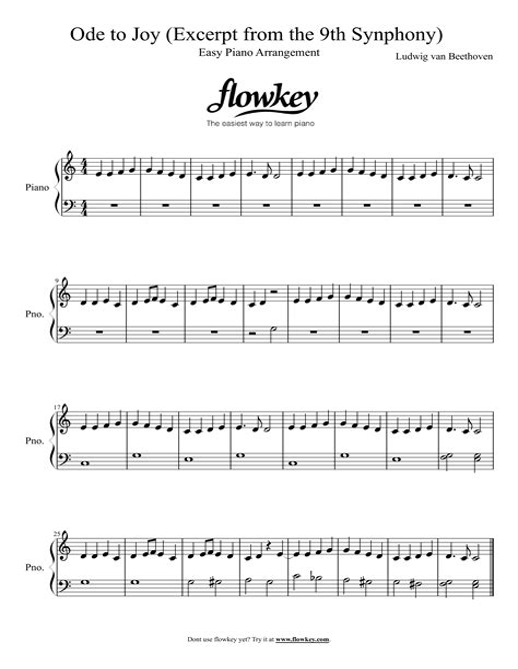 Ode To Joy Ludwig Van Beethoven For Oboe Piano  music sheet