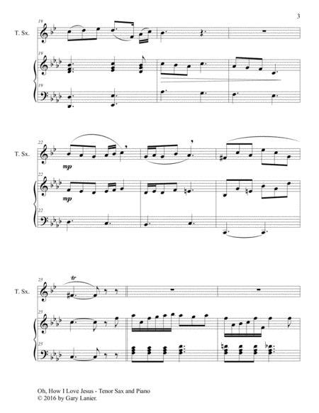 Oh How I Love Jesus Duet Tenor Sax Piano With Parts  music sheet