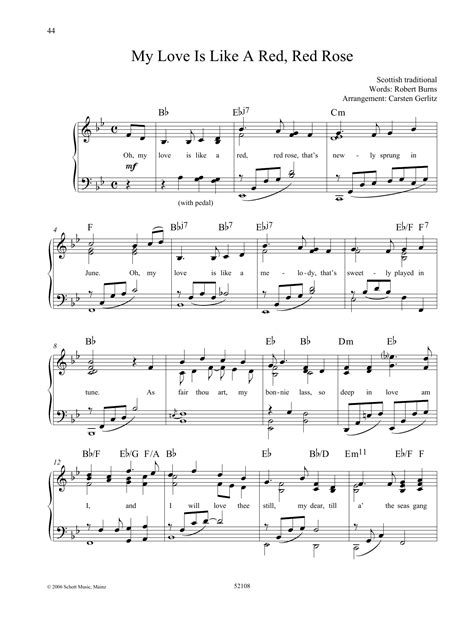 Oh My Love Is Like A Red Red Rose  music sheet