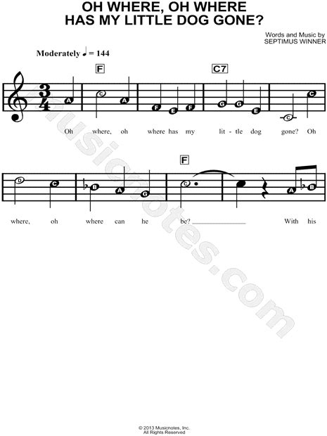 Oh Where Oh Where Has My Little Dog Gone Beginner Piano Sheet Music Tadpole Edition  music sheet