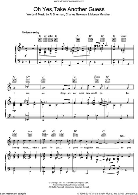 Oh Yes Take Another Guess  music sheet