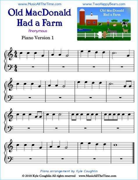 Old Mcdonald Piano  music sheet