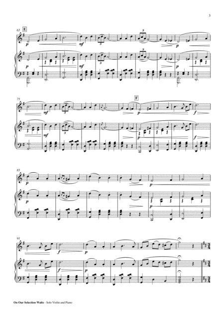 On Our Selection Waltz Solo Piano Pdf  music sheet