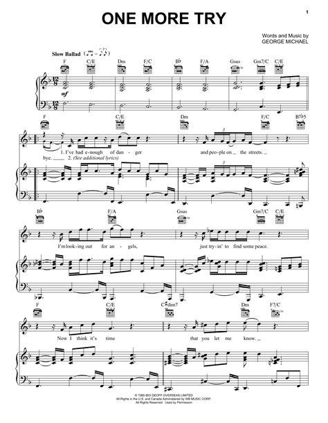 One More Try  music sheet